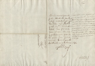 KING PHILIP IV (SPAIN) - AUTOGRAPH LETTER SIGNED 01/17/1652 CO-SIGNED BY: COUNTESS OF SALVATIERRA (ANTONIA MARCELA DE ACUÑA Y GUZMAN)