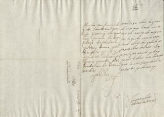 KING PHILIP IV (SPAIN) - AUTOGRAPH LETTER SIGNED 12/11/1651 CO-SIGNED BY: COUNTESS OF SALVATIERRA (ANTONIA MARCELA DE ACUÑA Y GUZMAN)