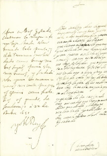 KING PHILIP IV (SPAIN) - AUTOGRAPH LETTER SIGNED 10/22/1651 CO-SIGNED BY: COUNTESS OF SALVATIERRA (ANTONIA MARCELA DE ACUÑA Y GUZMAN)