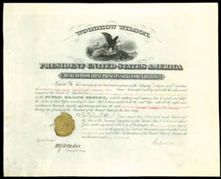 Autographs: PRESIDENT WOODROW WILSON - CIVIL APPOINTMENT SIGNED 01/03/1916 CO-SIGNED BY: WILLIAM G. McADOO
