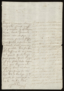 KING PHILIP IV (SPAIN) - AUTOGRAPH LETTER SIGNED 10/23/1646 CO-SIGNED BY: COUNTESS OF SALVATIERRA (ANTONIA MARCELA DE ACUÑA Y GUZMAN)