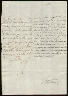 KING PHILIP IV (SPAIN) - AUTOGRAPH LETTER SIGNED 04/25/1652 CO-SIGNED BY: COUNTESS OF SALVATIERRA (ANTONIA MARCELA DE ACUÑA Y GUZMAN)