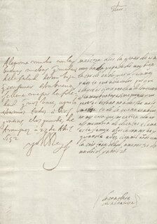 KING PHILIP IV (SPAIN) - AUTOGRAPH LETTER SIGNED 04/27/1652 CO-SIGNED BY: COUNTESS OF SALVATIERRA (ANTONIA MARCELA DE ACUÑA Y GUZMAN)