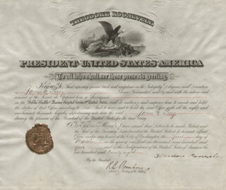 PRESIDENT THEODORE ROOSEVELT - CIVIL APPOINTMENT SIGNED 03/01/1904 CO-SIGNED BY: ROBERT B. ARMSTRONG
