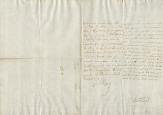KING PHILIP IV (SPAIN) - AUTOGRAPH LETTER SIGNED 01/25/1653 CO-SIGNED BY: COUNTESS OF SALVATIERRA (ANTONIA MARCELA DE ACUÑA Y GUZMAN)