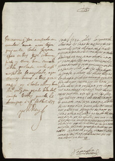 KING PHILIP IV (SPAIN) - AUTOGRAPH LETTER SIGNED 04/26/1653 CO-SIGNED BY: COUNTESS OF SALVATIERRA (ANTONIA MARCELA DE ACUÑA Y GUZMAN)