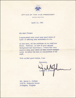 PRESIDENT LYNDON B. JOHNSON - TYPED LETTER SIGNED 04/13/1961