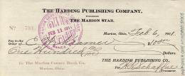 Autographs: PRESIDENT WARREN G. HARDING - CHECK ENDORSED 02/06/1911 CO-SIGNED BY: H. R. SCHAFFNER, C. W. KRAMER
