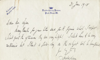 MARQUESS OF LONDONDERRY VII (CHARLES VANE-TEMPEST-STEWART) - AUTOGRAPH LETTER SIGNED 06/21/1918