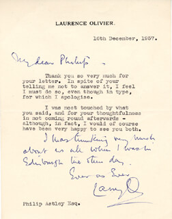 LAURENCE OLIVIER - AUTOGRAPH LETTER SIGNED 12/16/1957