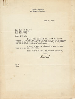 CHARLIE THE LITTLE TRAMP CHAPLIN - TYPED LETTER SIGNED 05/26/1937
