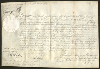 Autographs: KING GEORGE IV (GREAT BRITAIN) - MILITARY APPOINTMENT SIGNED 08/29/1811 CO-SIGNED BY: RICHARD RYDER, GENERAL THOMAS BATES