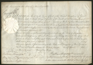 KING GEORGE IV (GREAT BRITAIN) - MILITARY APPOINTMENT SIGNED 04/24/1811 CO-SIGNED BY: PRIME MINISTER ROBERT BANKS (2ND EARL OF LIVERPOOL) JENKINSON