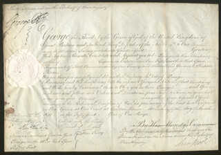 Autographs: KING GEORGE IV (GREAT BRITAIN) - MILITARY APPOINTMENT SIGNED 03/25/1811 CO-SIGNED BY: PRIME MINISTER ROBERT BANKS (2ND EARL OF LIVERPOOL) JENKINSON