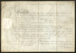 Autographs: KING GEORGE IV (GREAT BRITAIN) - MILITARY APPOINTMENT SIGNED 01/03/1813 CO-SIGNED BY: EARL OF BATHURST III (HENRY BATHURST)