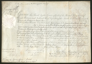 Autographs: KING GEORGE IV (GREAT BRITAIN) - MILITARY APPOINTMENT SIGNED 09/21/1811 CO-SIGNED BY: GENERAL THOMAS BATES