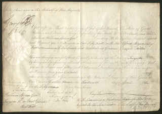 Autographs: KING GEORGE IV (GREAT BRITAIN) - MILITARY APPOINTMENT SIGNED 04/16/1812 CO-SIGNED BY: PRIME MINISTER ROBERT BANKS (2ND EARL OF LIVERPOOL) JENKINSON