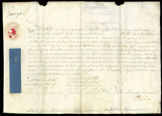 Autographs: KING GEORGE II (GREAT BRITAIN) - MILITARY APPOINTMENT SIGNED 10/04/1755