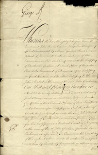 Autographs: KING GEORGE II (GREAT BRITAIN) - DOCUMENT SIGNED 05/18/1732