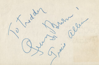 GEORGE BURNS - INSCRIBED SIGNATURE CO-SIGNED BY: GRACIE ALLEN