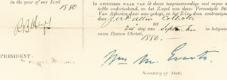 PRESIDENT RUTHERFORD B. HAYES - FOUR LANGUAGE SHIPS PAPERS SIGNED 09/24/1880 CO-SIGNED BY: JAMES TAYLOR, J. A. P. ALLEN, WILLIAM M. EVARTS
