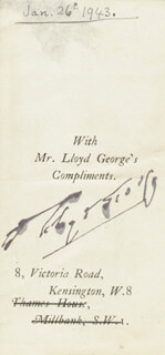 PRIME MINISTER DAVID LLOYD GEORGE (GREAT BRITAIN) - AUTOGRAPH CIRCA 1943