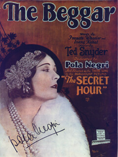 POLA NEGRI - AUTOGRAPHED SIGNED POSTER