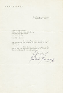 GENE TUNNEY - TYPED LETTER SIGNED 12/06/1937