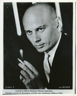 YUL BRYNNER - AUTOGRAPHED SIGNED PHOTOGRAPH