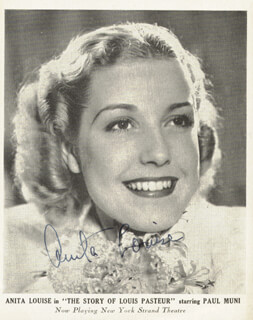 ANITA LOUISE - AUTOGRAPHED SIGNED PHOTOGRAPH