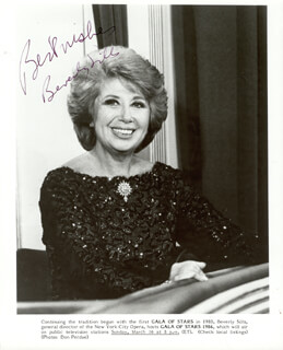 BEVERLY SILLS - PRINTED PHOTOGRAPH SIGNED IN INK