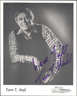 TOM T. HALL - PRINTED PHOTOGRAPH SIGNED IN INK