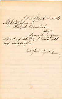 BRIGHAM YOUNG - MANUSCRIPT LETTER SIGNED 03/28/1861