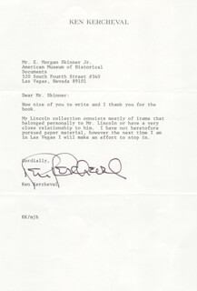 KEN KERCHEVAL - TYPED LETTER SIGNED