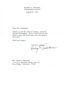 PRESIDENT HARRY S TRUMAN - TYPED LETTER SIGNED 08/27/1971