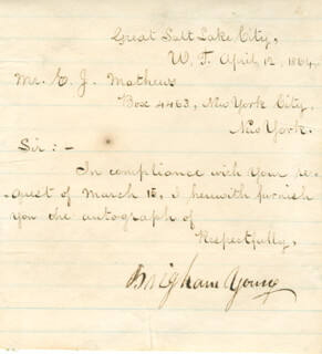 BRIGHAM YOUNG - MANUSCRIPT LETTER SIGNED 04/12/1864