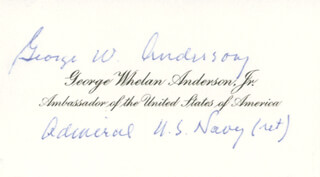 Autographs: ADMIRAL GEORGE W. ANDERSON JR. - CALLING CARD SIGNED