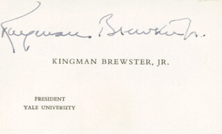 KINGMAN BREWSTER JR. - CALLING CARD SIGNED