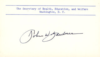 JOHN W. GARDNER - PRINTED CARD SIGNED IN INK