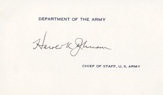 Autographs: GENERAL HAROLD K. JOHNSON - CALLING CARD SIGNED