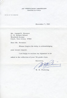 WILLIAM HAYWARD PICKERING - TYPED LETTER SIGNED 12/07/1965