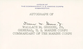 Autographs: GENERAL WALLACE M. GREENE JR. - CALLING CARD SIGNED