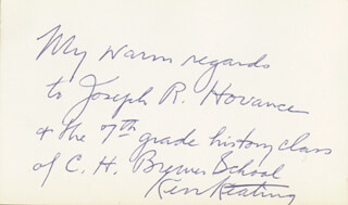 SENATOR KENNETH B. KEATING - AUTOGRAPH NOTE SIGNED