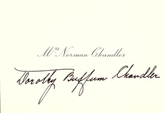 DOROTHY BUFFUM BUFF CHANDLER - CALLING CARD SIGNED