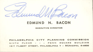 EDMUND N. BACON - BUSINESS CARD SIGNED