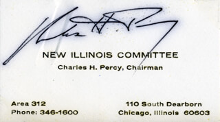 CHARLES H. PERCY - BUSINESS CARD SIGNED
