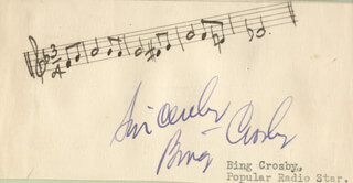 BING CROSBY - MUSICAL QUOTATION SIGNED