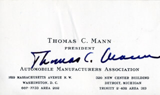 THOMAS C. MANN - BUSINESS CARD SIGNED