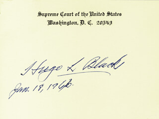 ASSOCIATE JUSTICE HUGO L. BLACK - SUPREME COURT CARD SIGNED 01/18/1966