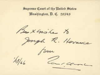 Autographs: ASSOCIATE JUSTICE TOM C. CLARK - AUTOGRAPH NOTE ON SUPREME COURT CARD SIGNED 01/18/1966